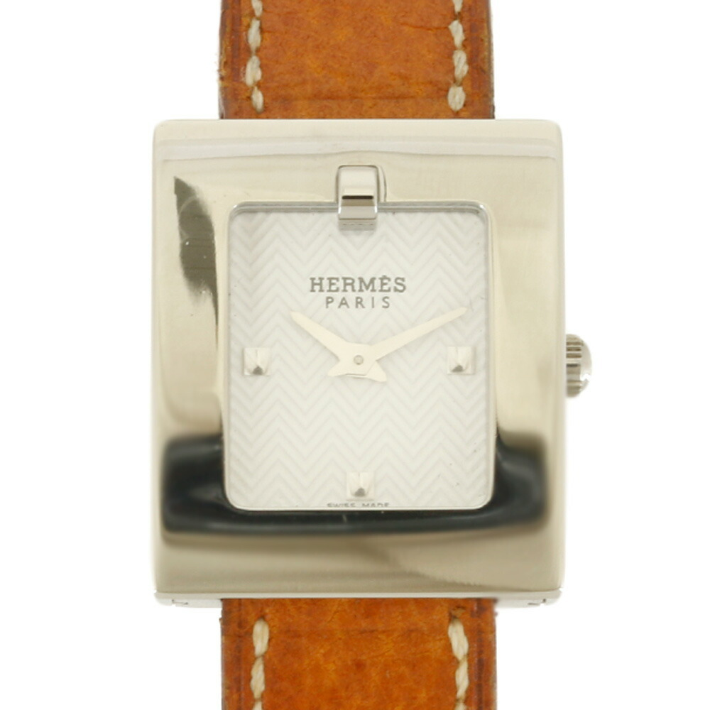 HERMES Hermes SS Watch Belt BE1.110 Silver Brown Ladies Stainless Steel Leather
