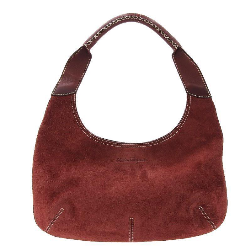 Salvatore Ferragamo Ferragamo Salvatore One Shoulder Bag Suede x Leather Red