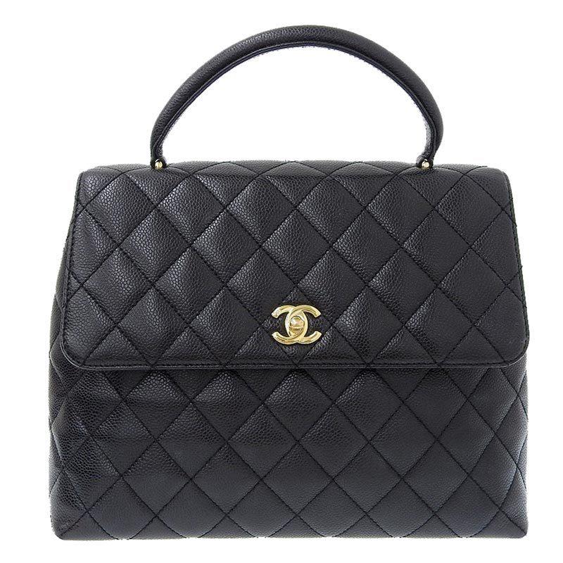 Chanel CHANEL Matrasse Handbag Caviar Skin Black Gold Hardware 9s