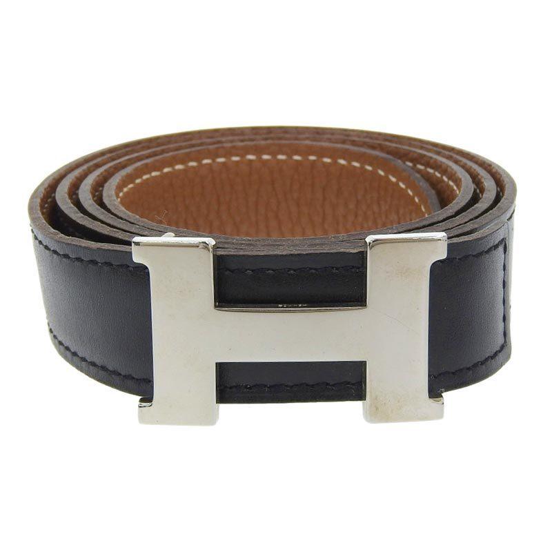 Hermes Constance Reversible Belt Leather Black x Brown SV Metal Fittings □ G 75