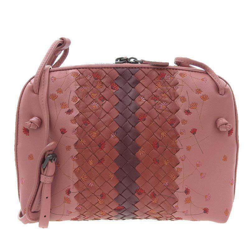 Bottega Veneta Intrecciato Shoulder Bag Leather Pink Flower