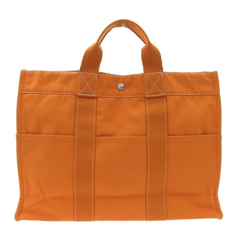 Hermes HERMES Sack Deauville MM Tote Bag Canvas Orange SV Hardware