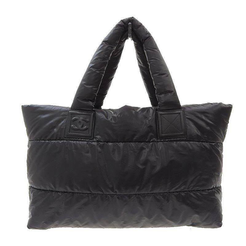 Chanel CHANEL Coco Cocoon Tote Bag Nylon Black SV Metal Fittings 13s