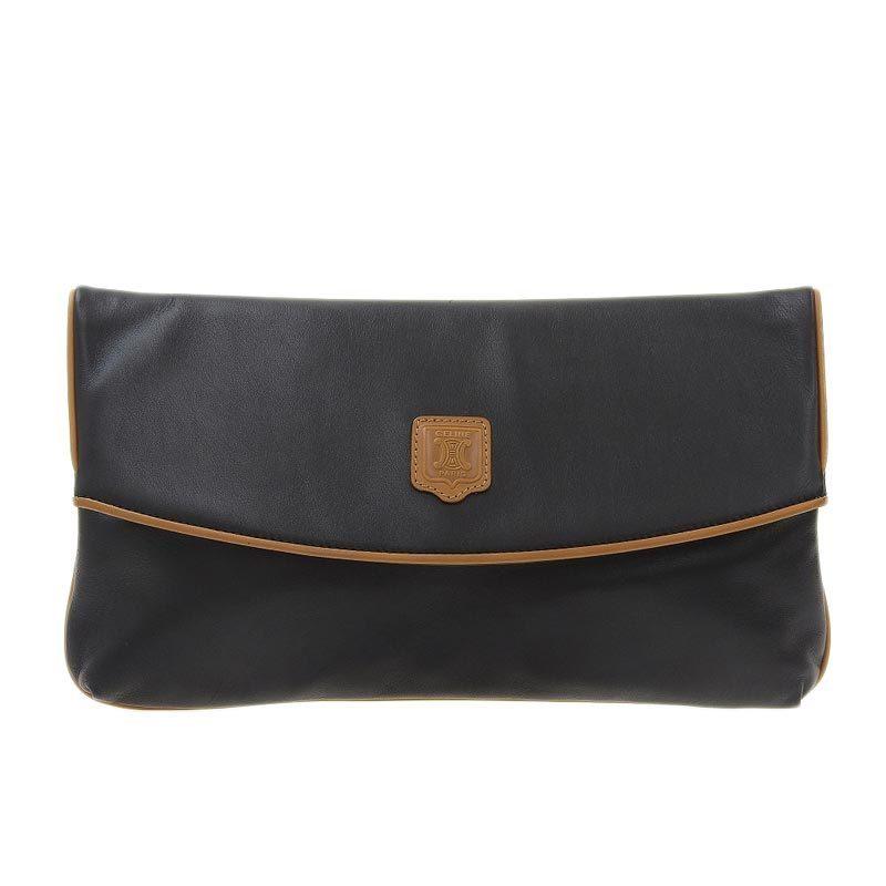Celine CELINE Clutch Bag Leather Black x Brown