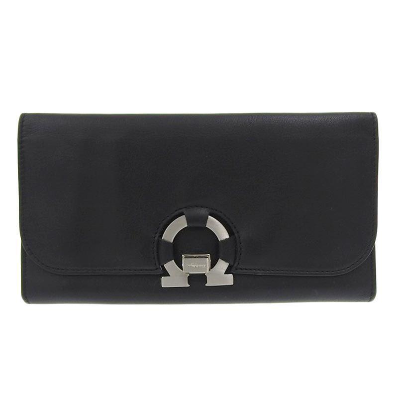 Salvatore Ferragamo Ferragamo Salvatore Gancio Tri-Fold Wallet Leather Black