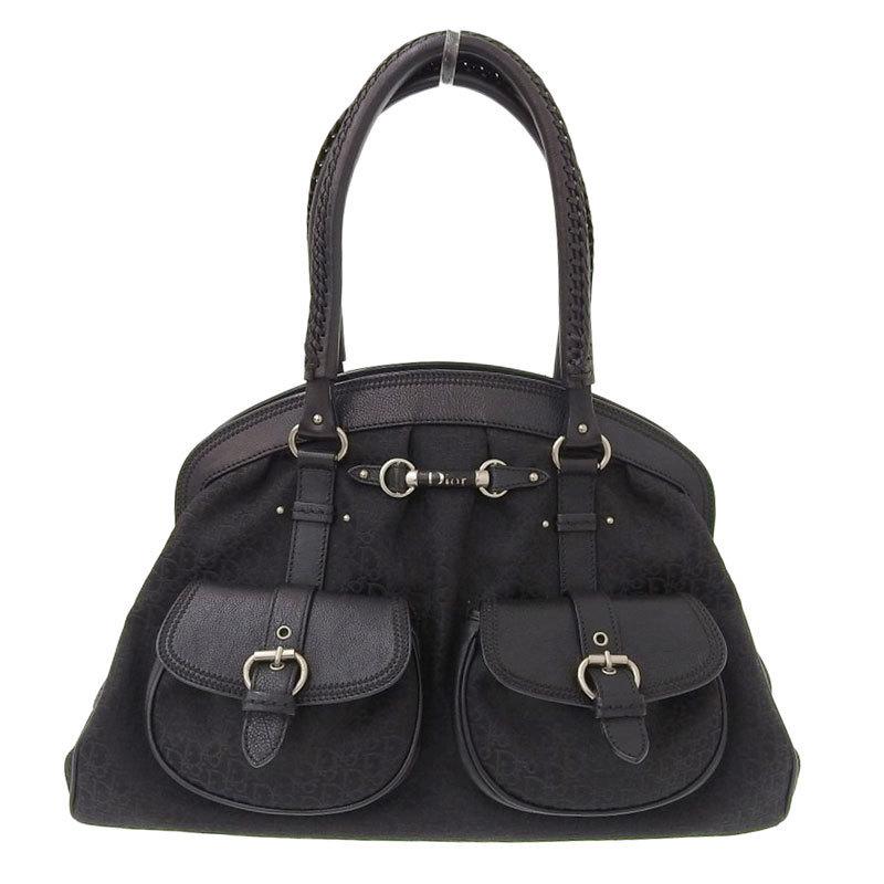Christian Dior Trotter Handbag Canvas Leather Black