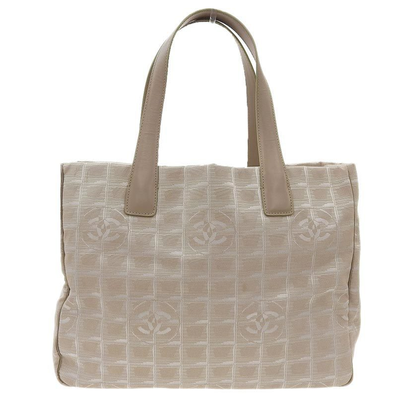 Chanel CHANEL New Travel Tote Bag Nylon G Metal Fittings Beige 8s