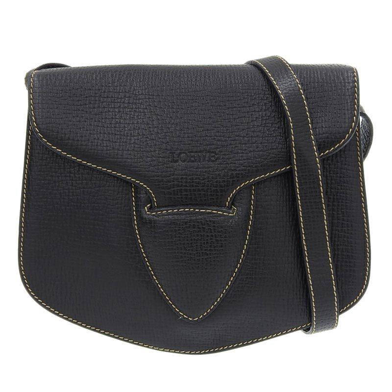 LOEWE Shoulder Bag Leather Black