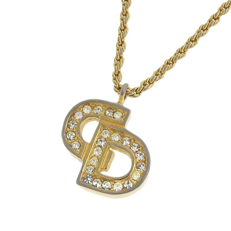 Christian Dior logo necklace gold