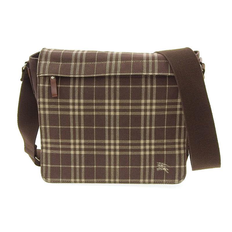 Burberry bluelabel shoulder bag canvas leather brown check