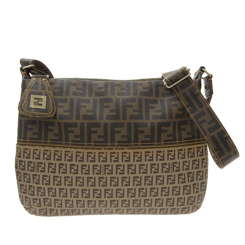 Fendi FENDI Zucca Zucchino Shoulder Bag PVC Brown