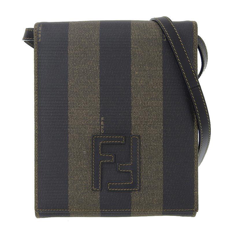FENDI Pecan Shoulder Bag Coated Canvas Khaki x Black
