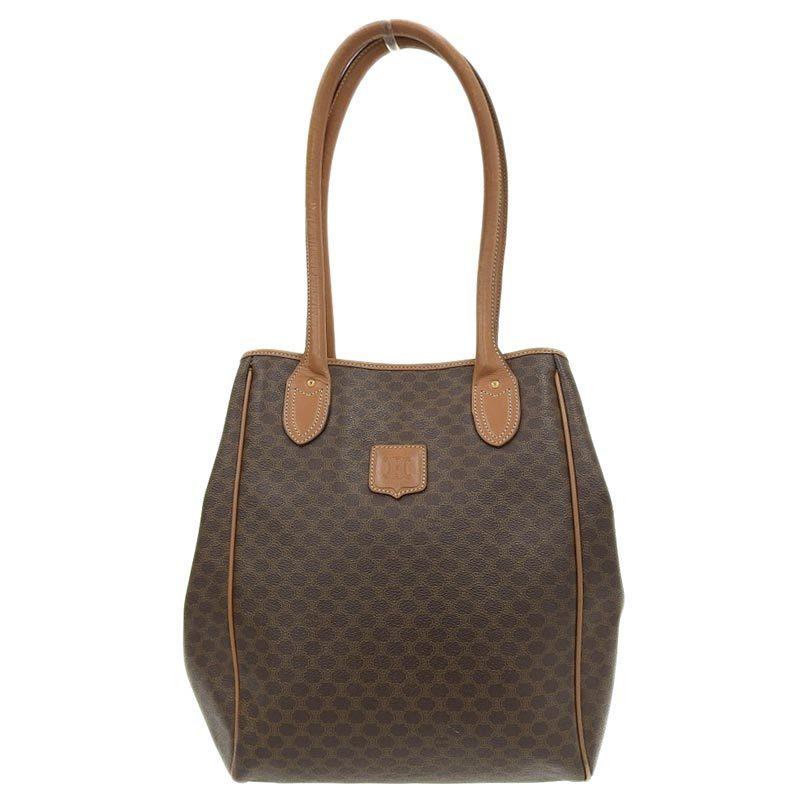 Celine CELINE Macadam Tote Bag PVC Leather Brown