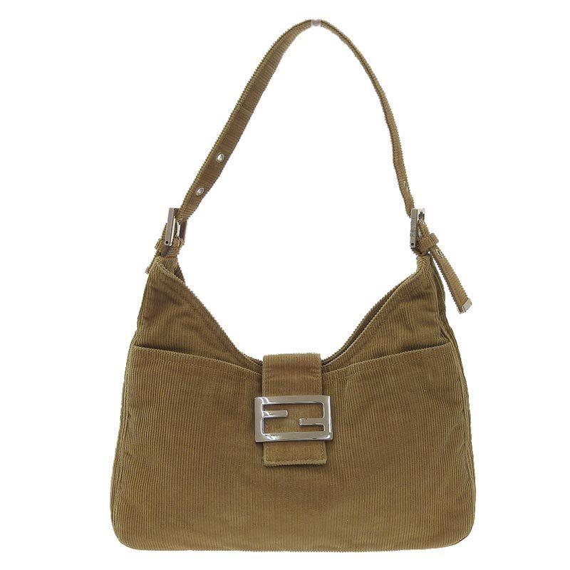 Fendi FENDI Mamma Bucket One Shoulder Bag Corduroy Camel