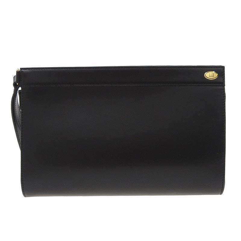 Dunhill Second Bag Leather Black Gold Hardware