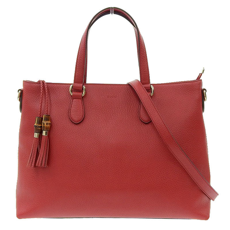 Gucci GUCCI Bamboo 2way Bag Leather Red 449643