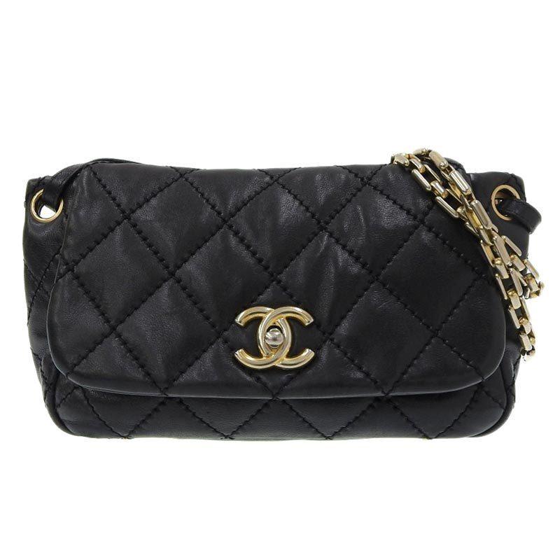 Chanel CHANEL Wild Stitch Shoulder Bag Lambskin G Metal Fittings Black 14s