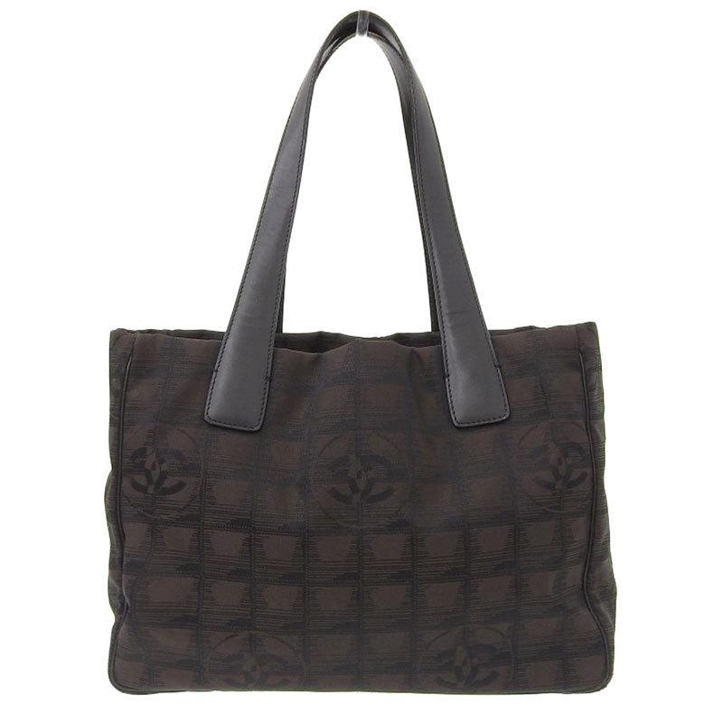 Chanel CHANEL New Travel Line Tote Bag Nylon Brown 9s