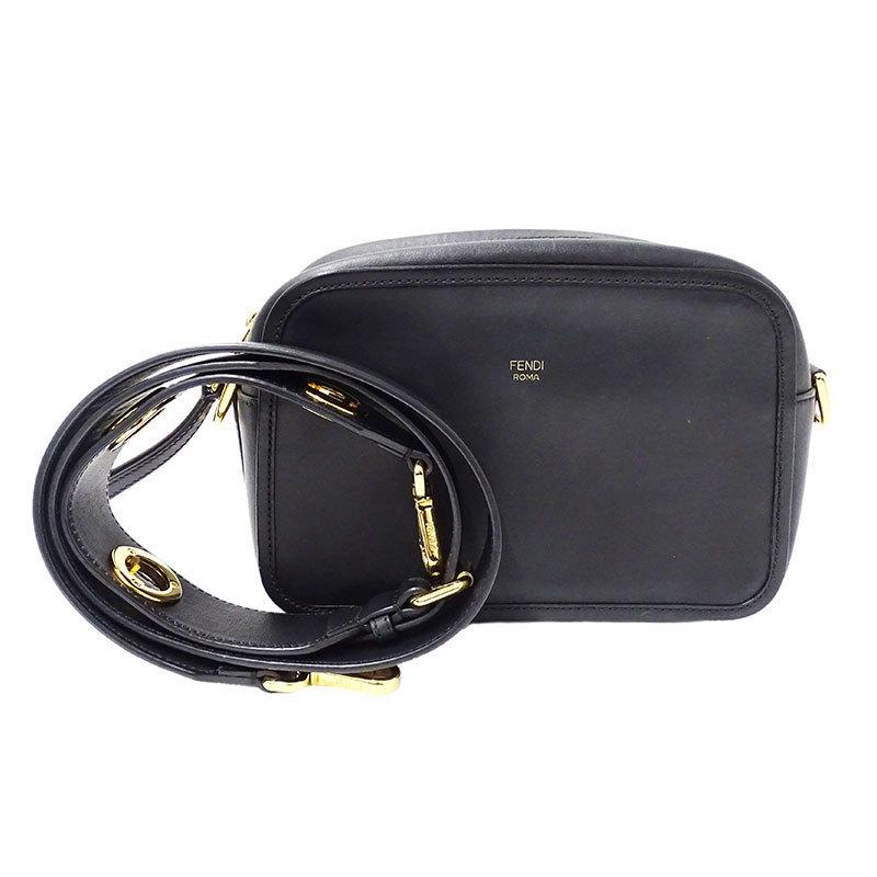 FENDI 2WAY Bag Clutch Shoulder Leather Black