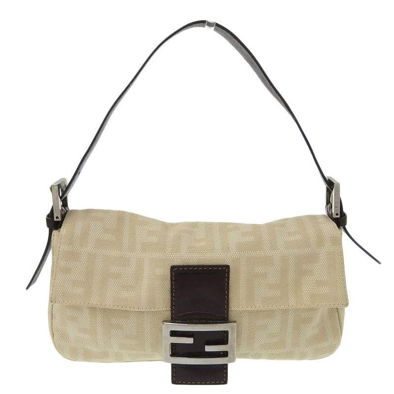 FENDI Zucca Handbag Canvas Leather Beige x Brown 26424