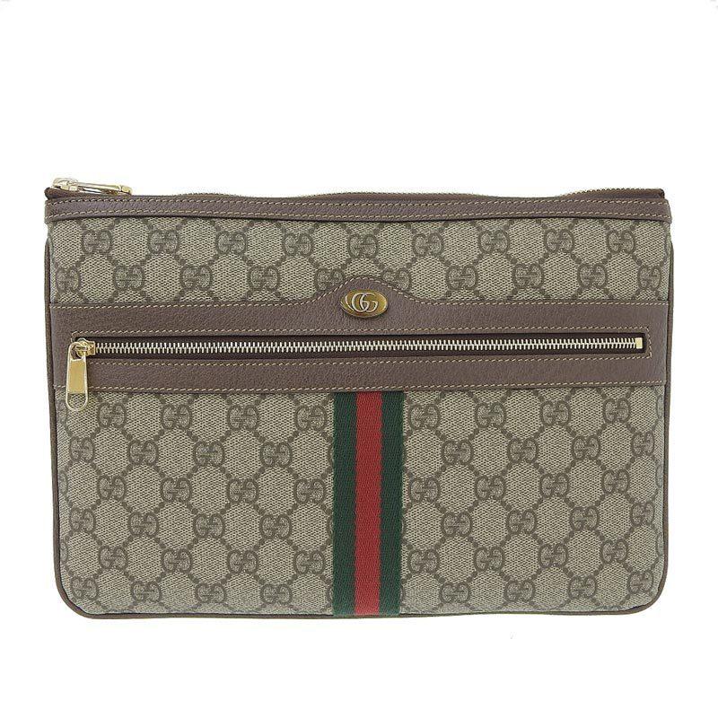 Gucci GUCCI GG Supreme Clutch Bag Brown 517551