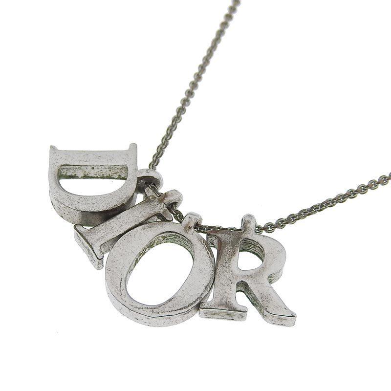 Christian Dior logo necklace silver