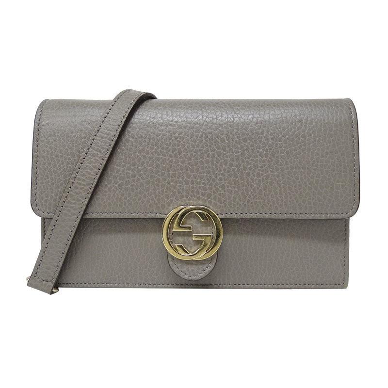 Gucci GUCCI Interlocking G Chain Wallet Clutch Bag Leather Gray 510314