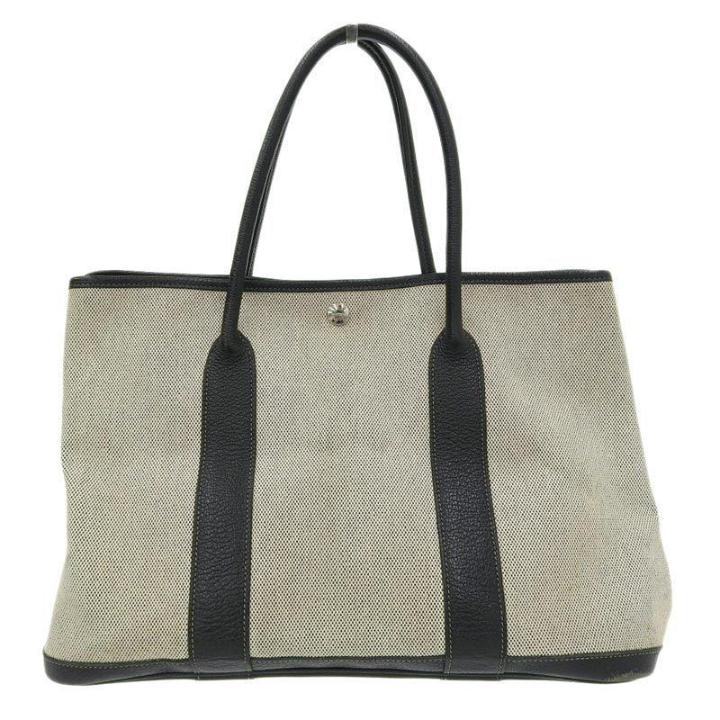 Hermes Garden Party PM Handbag Toile Ash x Negonda Black □ J Engraved