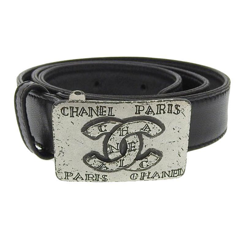Chanel CHANEL Belt Leather Black 70