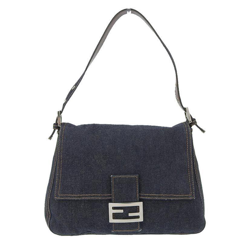 FENDI Mamma bucket shoulder bag denim navy blue
