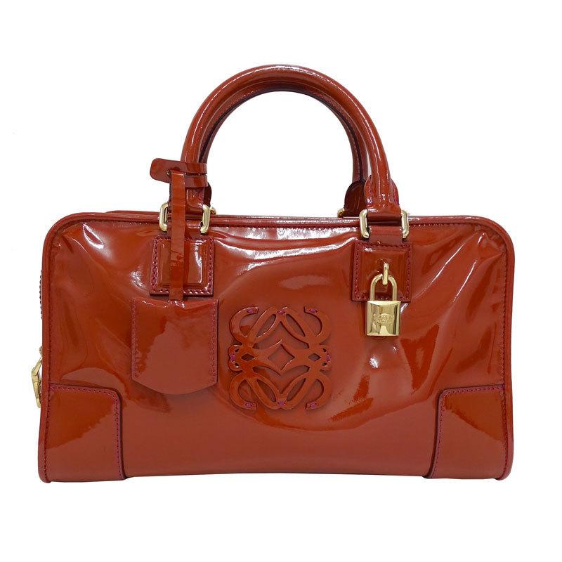 LOEWE Amazona 28 Handbag Patent Terracotta