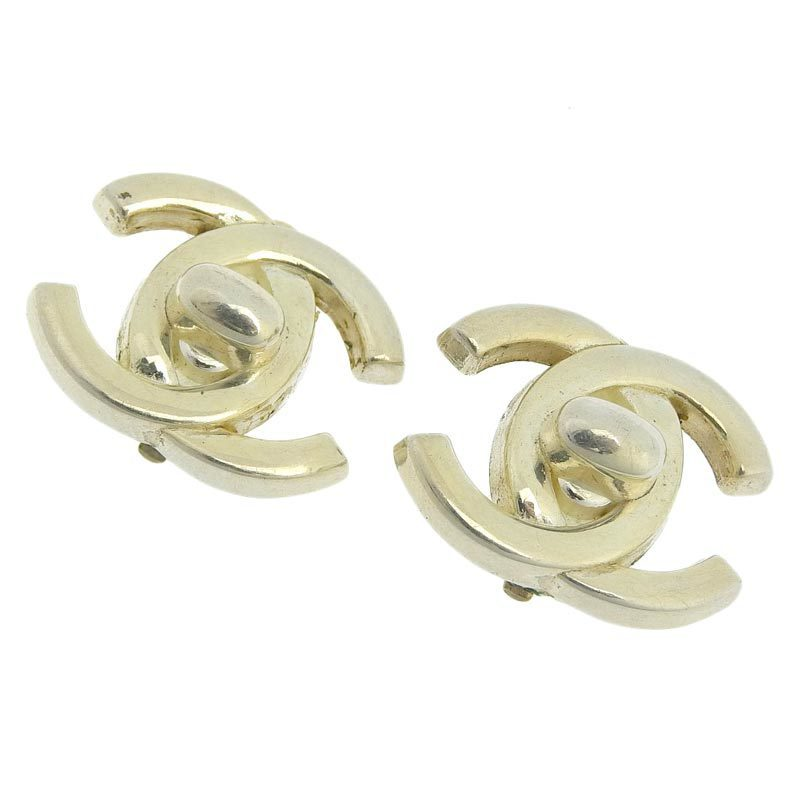Chanel CHANEL Coco Mark Earrings Silver 96P