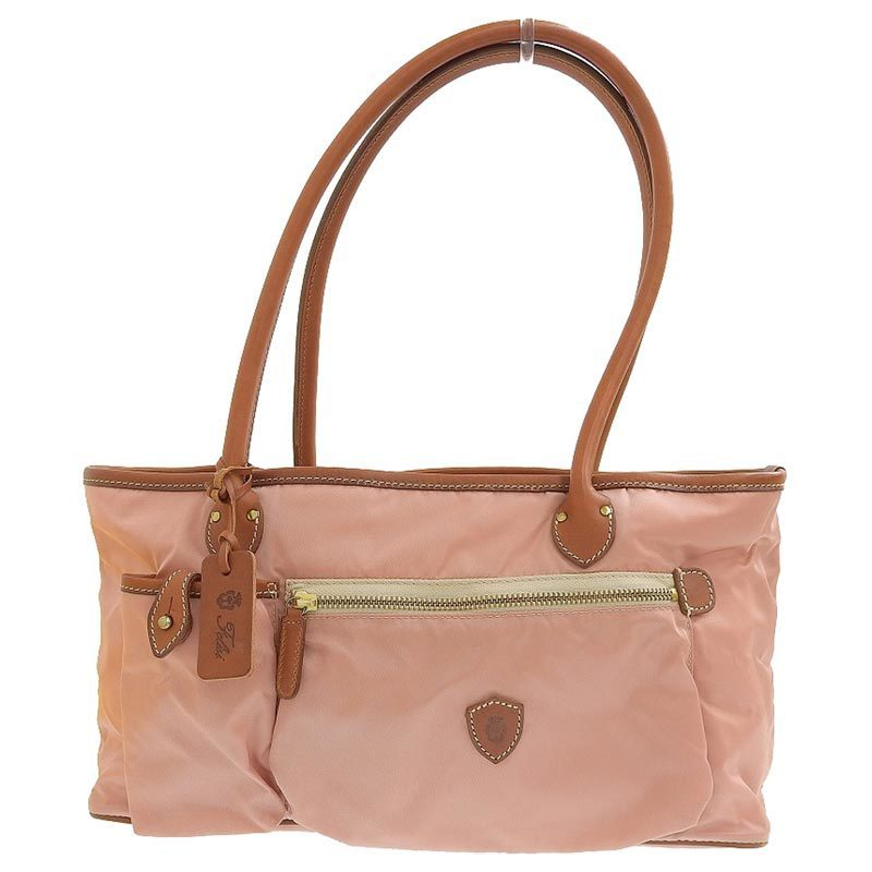 Felisi Tote Bag Nylon x Leather Pink Brown