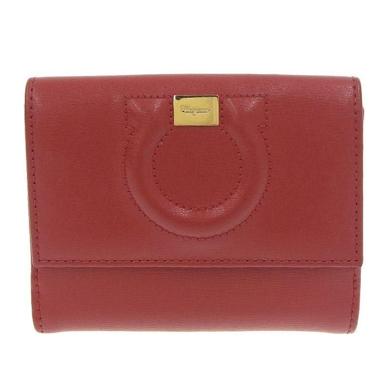 Salvatore Ferragamo Ferragamo Salvatore Gancio Bi-Fold Wallet Leather Red