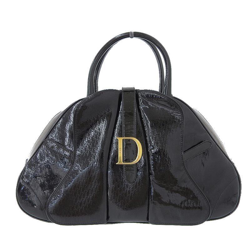 Christian Dior Handbag Enamel Black