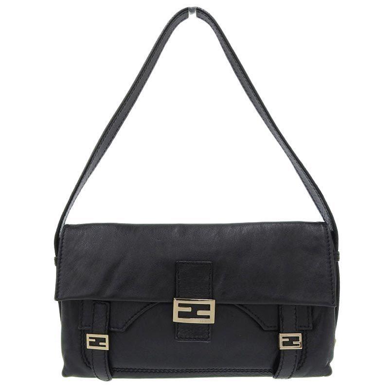 Fendi FENDI Handbag Leather Black 8BR520
