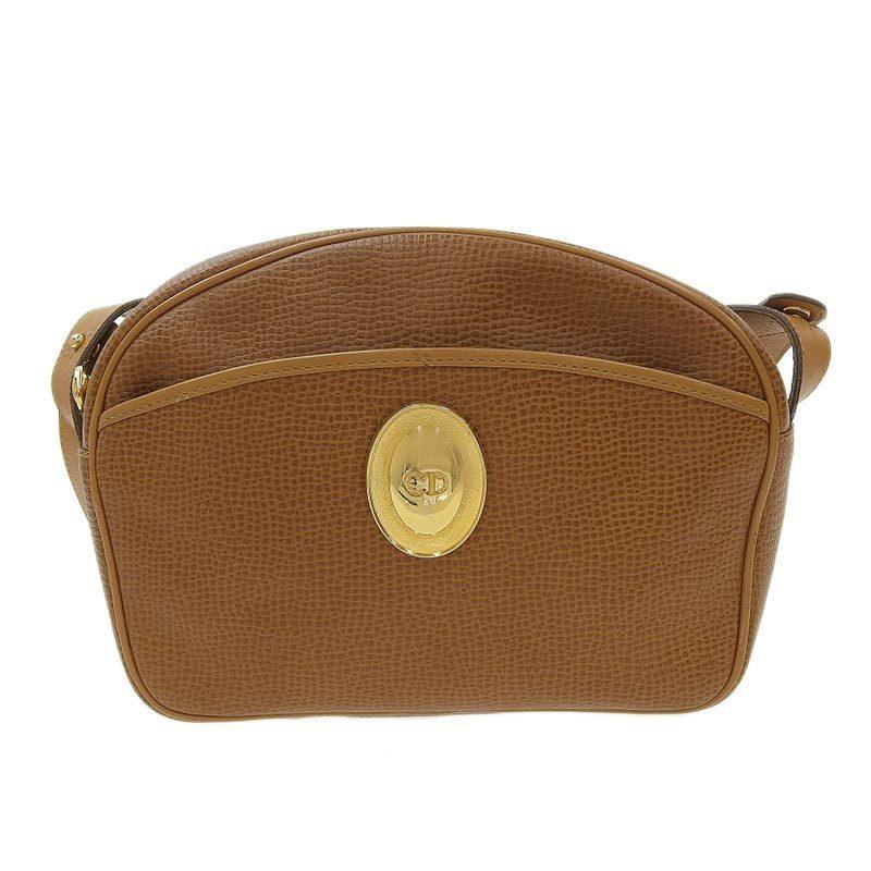 Christian Dior Shoulder Bag Leather Brown