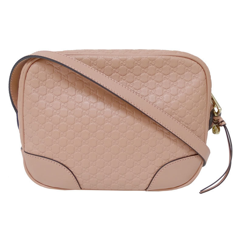 Gucci GUCCI Micro Shima Shoulder Bag Leather Pink 449413