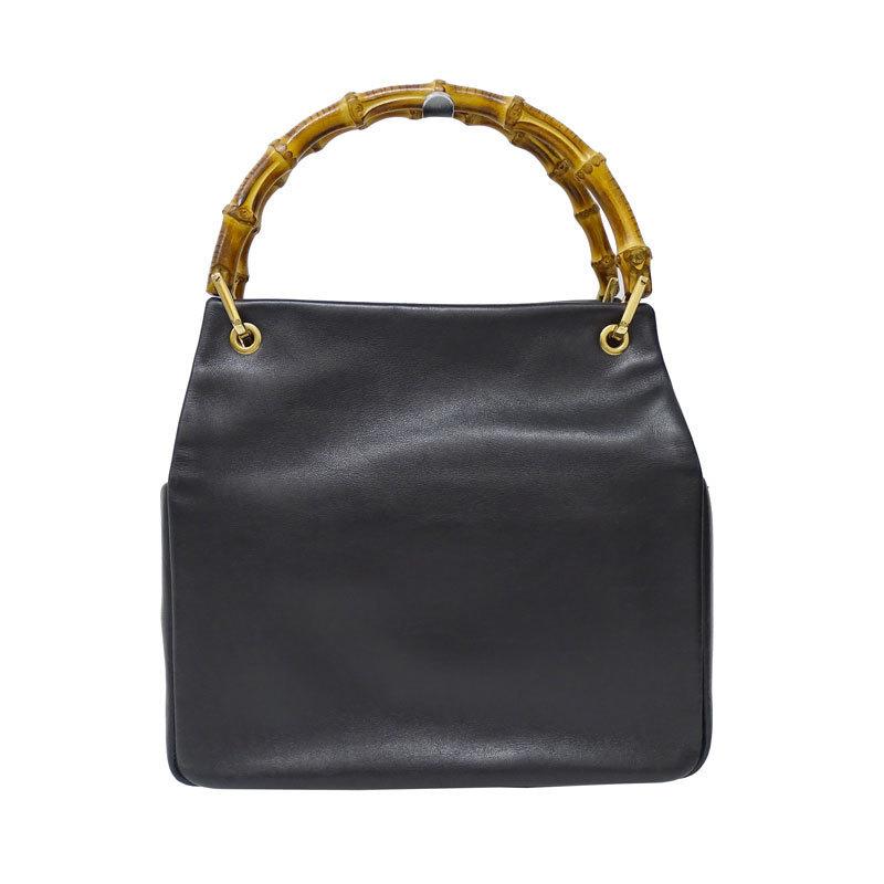 Gucci GUCCI Bamboo Handbag Leather Black 000.0166.0580