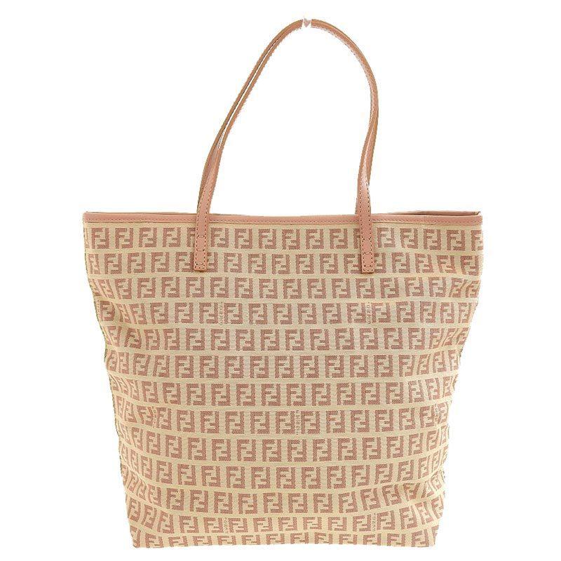 FENDI Zucchino Tote Bag Canvas Leather Beige x Pink 8BH074