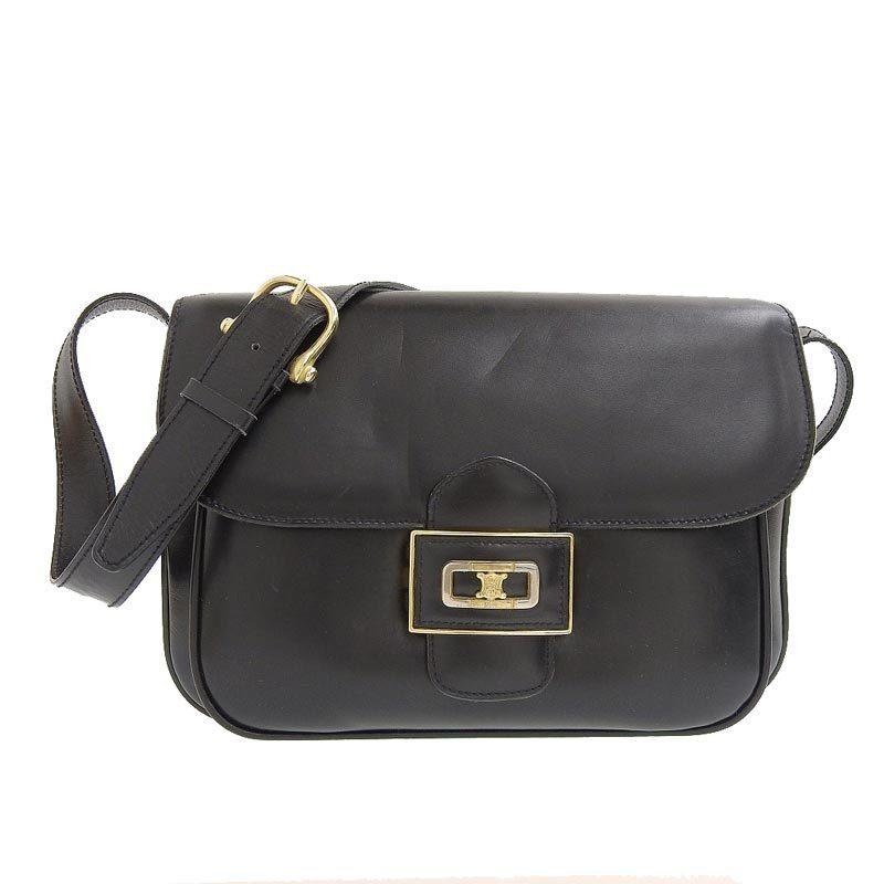 Celine CELINE Shoulder Bag Leather Black
