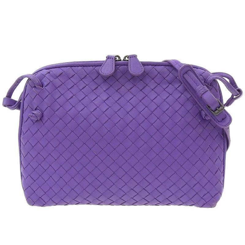 Bottega Veneta Intrecciato Shoulder Bag Leather Purple