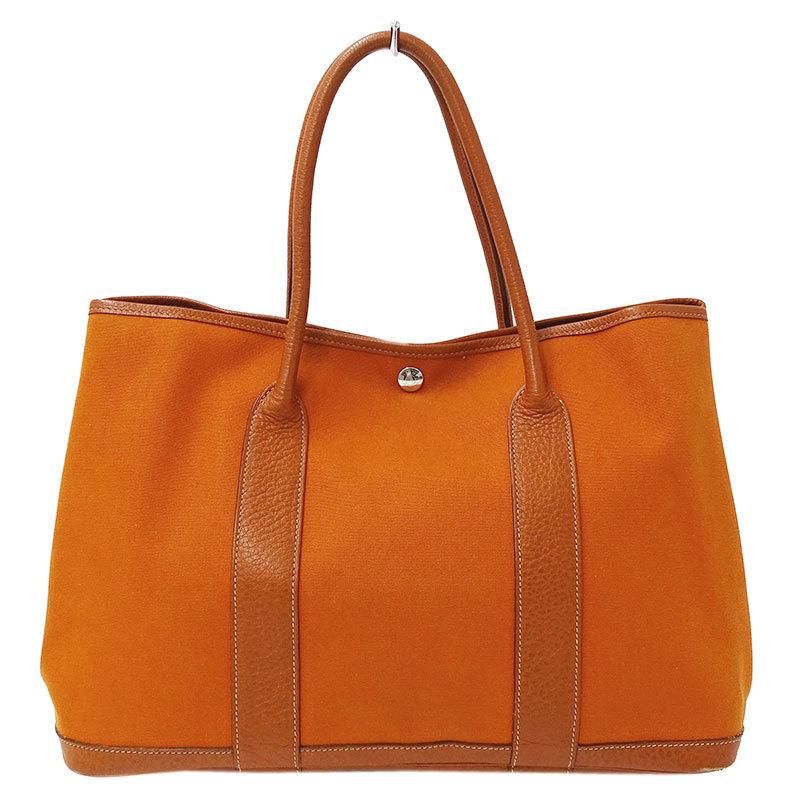 Hermes HERMES Garden Party MM Toile Officier SV Metal Fittings Orange Tote Bag □ J Engraved 2006 Made