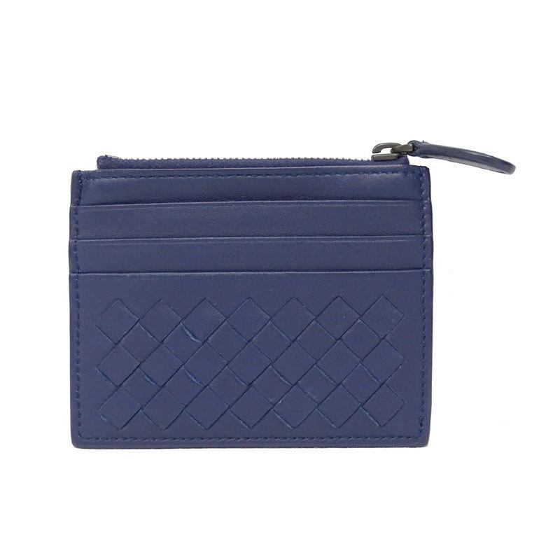 BOTTEGA VENETA Intrecciato Card Case Leather Navy Blue