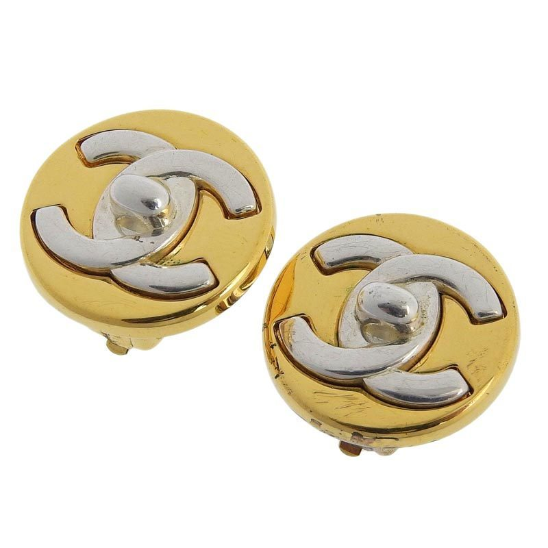 Chanel CHANEL Coco Mark Circle Motif Earrings Gold x Silver 97A
