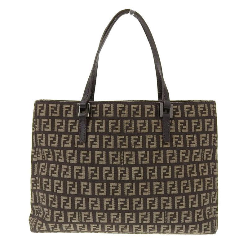 Fendi FENDI Zucca Handbag Canvas Leather Brown