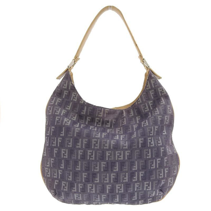 FENDI Zucchino One Shoulder Bag Denim Purple