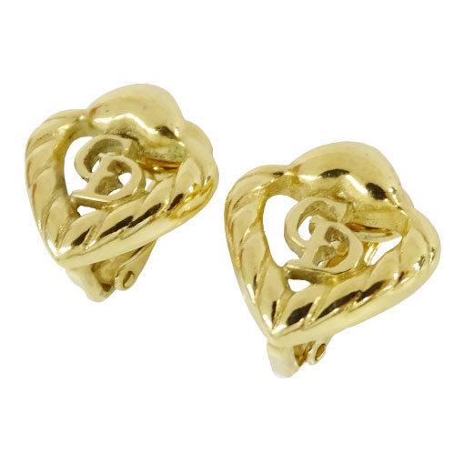 Christian Dior Earrings Gold Logo Heart Ladies
