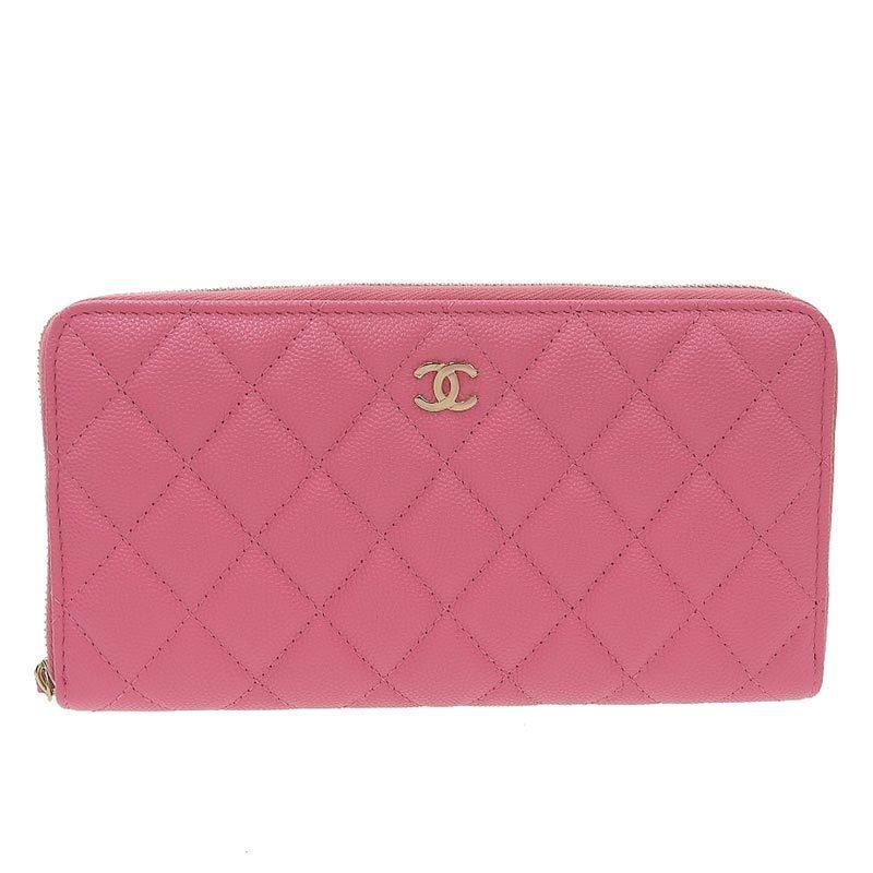 Chanel CHANEL Matrasse Long Wallet Caviar Skin SV Metal Fittings Pink 30s