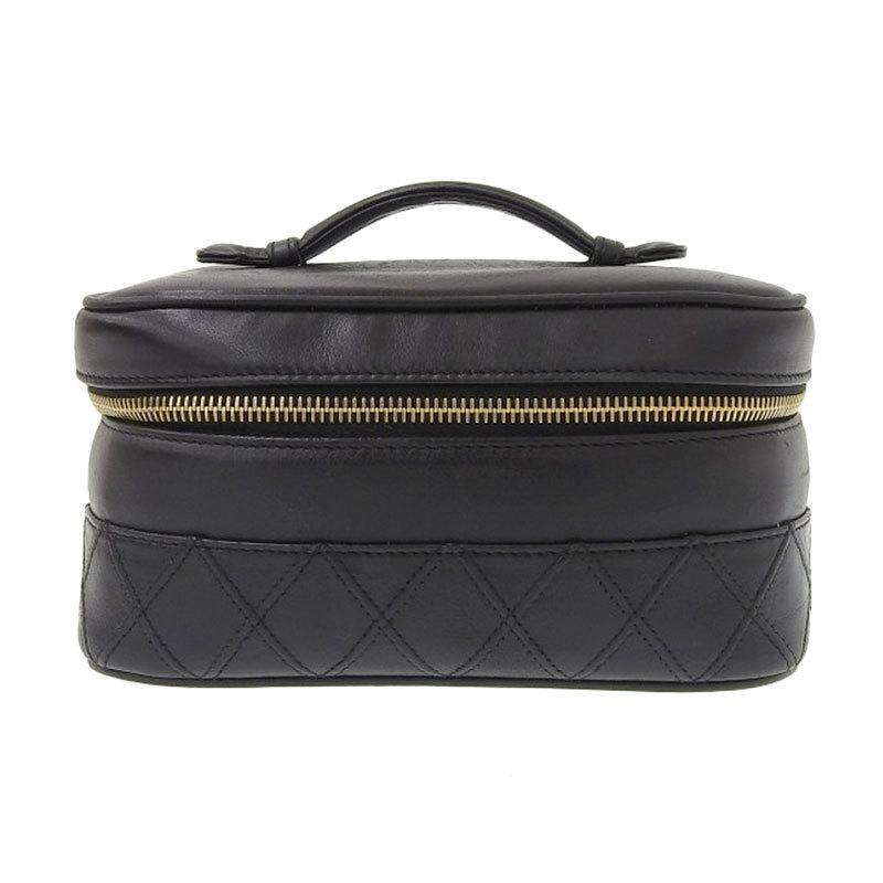 Chanel CHANEL Bicolore Vanity Bag Lambskin Black Gold Metal Fittings 3rd